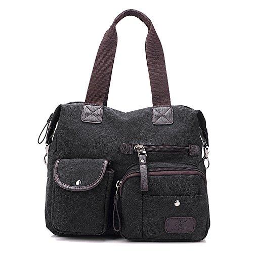 Damen Handtasche, Gindoly Multi Pocket Large Schultertasche Tote Fashion Handtasche Canvas Hobo Bags für Reisen Schule Shopping und Arbeit (Schwarz) (Schwarz Handtaschen Stoff Hobo)