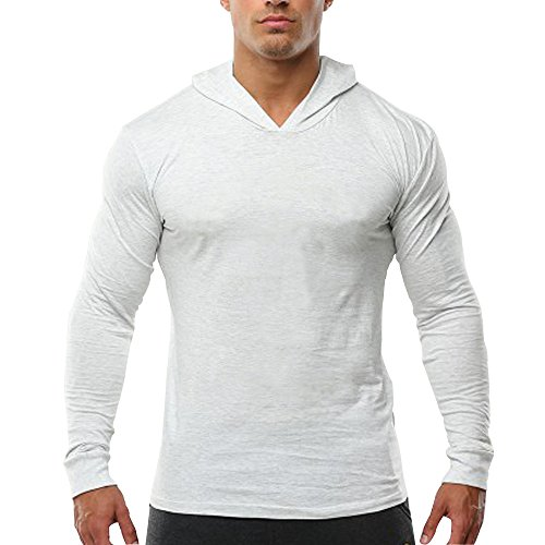 Alivebody Men's Bodybuilding Tapered Slim Fit Sweatshirts V Neck Active Hoodies White 3XL