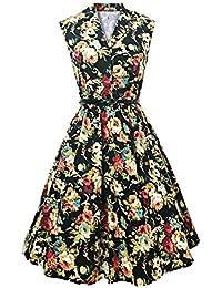 800e71729202 DressLily Vintage Lapel Floral Print Belt A-line Women Dress