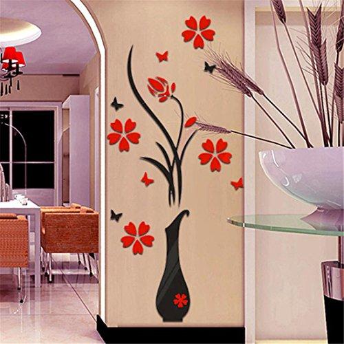 Wandaufkleber brezeh Papier Hingucker DIY Vase Blume Baum Kristall Acryl 3D Wand Aufkleber Aufkleber Home Decor (Baum Vase)