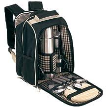 geschenkartikel-shopping Mochila de picnic para 2personas, incluye termo y tablas de madera, color negro y beige de noTrash2003