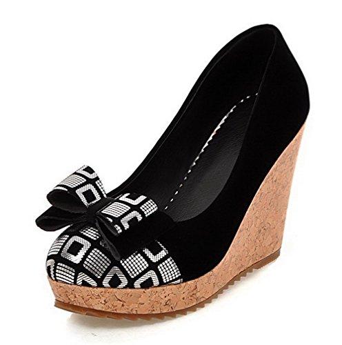 AllhqFashion Damen Nubukleder Gemischte Farbe Ziehen Auf Rund Zehe Hoher Absatz Pumps Schuhe Silber