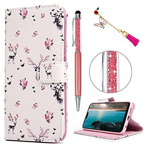 Huawei P20 Lite Hülle, Filp PU Leder Case Tasche : Book Type Gemalt Handyhülle mit Soft TPU Innere Schutzhülle in Hirsch + Stylus Pen + Anti Dust Plug