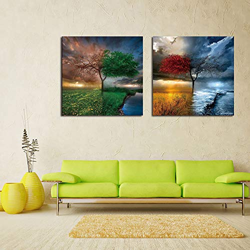 Canvas Wall Art Picture HD Print Poster Wall Art-2 Piece Tree Spring Sommer Herbst Winter Leisure Background Living Room Restaurant Office,30cm*30cm*2pcs