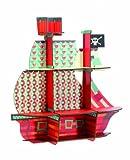 Etagère murale en bois forme bateau pirate imprimé géométrique 52x54x14cm MARIN