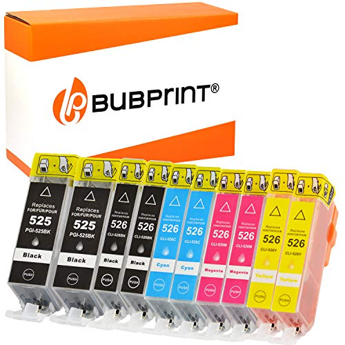 bubprint CARTUCCE PER STAMPANTI compatibile per Canon PGI-525 CLI-526 - Nero, 1010 Set