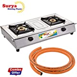 Surya Shining Flame Classic Stainless Steel 2 Burner Gas Stove with 1.2 m LPG Hose Pipe Combo