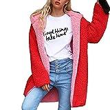 ZHRUI Damen Damen Warme Künstliche Wollmantel Tragen Auf Beiden Seiten Winter Parka Oberbekleidung Haarige Jacke (Farbe : Rosa, Größe : XX-Large)