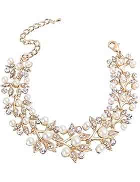 EVER FAITH® Art Deco Kristall künstliche Perle elegant Blätter Form Armkette Gold-Ton N05136-2