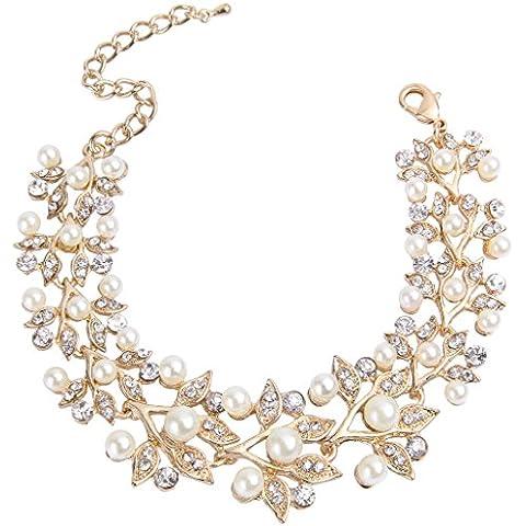Ever Faith - Oro-Tono Aniversario Flores Perla Simulado Cristal Brazalete Cadena Color Marfil N05136-2