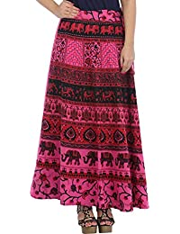 Exotic India Wrap-Around Long Skirt From Pilkhuwa With Printed Elephants