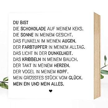 Wunderpixel® Holzbild Du bist mein Ein und Alles 15x15x2cm zum Hinstellen Aufhängen, Spruch – schwarz-weißes Holz-Schild Bild Poster Aufsteller Deko im Büro Wohnung Geschenk Mitbringsel Jahrestag