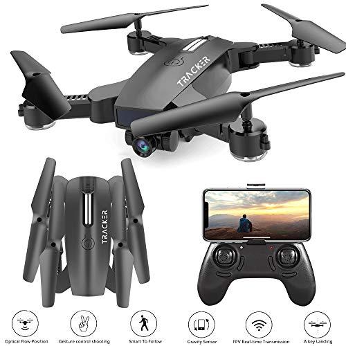 Hotbird H35B Follow Me Drohne mit Kamera für Kinder, 2MP 120° Weitwinkel 3D VR Live Video Kamera Aufnahme mit Gestensteuerung, Mini Faltbarer RC Hubschrauber, WiFi FPV Quadcopter