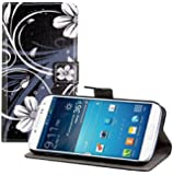 kwmobile Wallet Case Kunstlederhülle für Samsung Galaxy S4 - Cover Flip Tasche in Blumen Swirl Design mit Kartenfach und Ständerfunktion in Weiß Schwarz