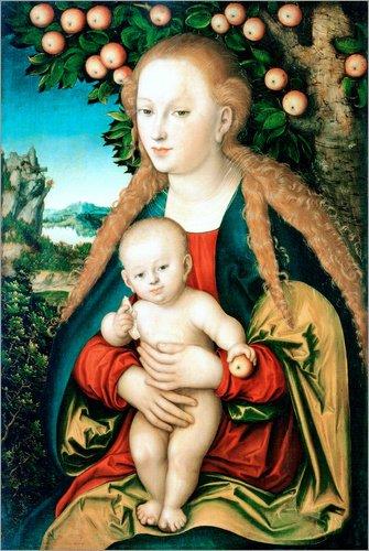 Posterlounge Leinwandbild 120 x 180 cm: Madonna mit dem Kind unter dem Apfelbaum von Lucas Cranach d.Ä. - fertiges Wandbild, Bild auf Keilrahmen, Fertigbild auf echter Leinwand, Leinwanddruck