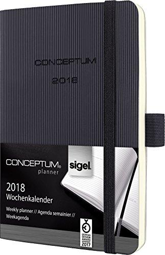 Preisvergleich Produktbild Sigel C1823 Wochenkalender 2018, ca. A6, Softcover, schwarz, CONCEPTUM - viele Modelle