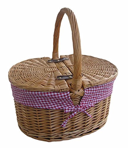 Red Check Lining Oval Picnic Basket
