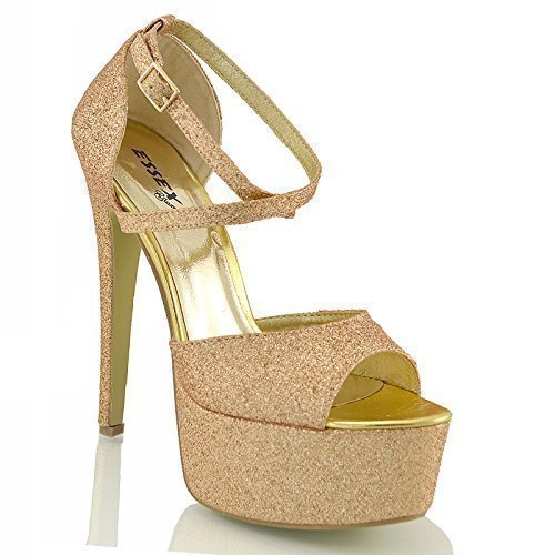 Essex glam sandalo donna peep toe con lacci plateau tacco a spillo alto (uk 3 / eu 36 / us 5, oro glitter)