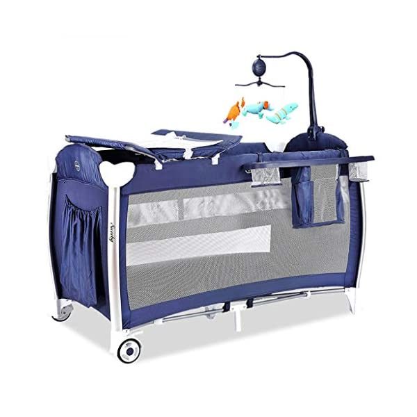 Travel Crib Cots Baby Nest Pod Bassinet Multifunctional Crib Travel Cots for Baby Sleeptight Game Bed Portable Folding with Mattress Mosquito Net 3 Colors (Color : A) OZYN Travel cots 【2-IN-1 BABY TRAVEL COT】There are two layers on this baby travel bed, the top layer is suitable for feeding and resting, and the bottom layer is ideal for crawling or learning to walk. You can use our infant cot in various kinds of places according to your different needs. 【MATERIAL】High quality oxford material, soft and comfortable, free of paint formaldehyde, wear-resistant, dirt-resistant, durable, preferably coir mattress, care for your baby's body and healthy growth 【SAFE CONSTRUCTION FOR BABY】Breathable mesh bed, protect your baby from bruising and bruising, good for air circulation, round corner bed, white plastic material, durable and rust-free, protect your baby from harm 1