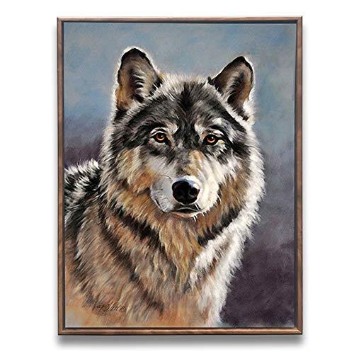 Sumeru Tiere auf Leinwand Gemälde abstrakt Wolf Kunstwerke für Home Living Schlafzimmer Büro Dekoration, 1Stück, 30,5x 40,6cm, gedehnt und gerahmt grau