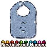 Sterntaler Lätzchen mit Namen bestickt, Model Baylee Bär Blue/Blau, Junge, Baby & Kleinkind Spucktuch, Halstuch/Babylätzchen personalisiert (Blau)