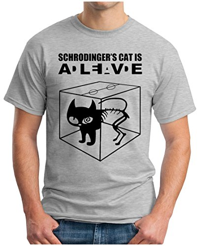 OM3 - BIG BANG - SCHROEDINGERS CAT - T-Shirt Is Alive Is Dead Schroedinger's Katze, S - 5XL Grau Meliert