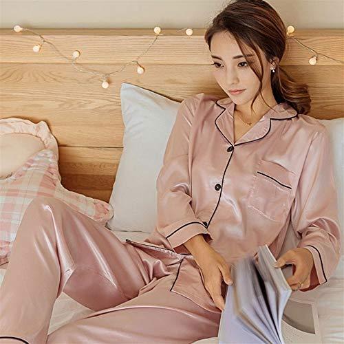 Classic Satin Pyjama Set (BEITAI Damen Classic Satin Pyjama Set Nachtwäsche Loungewear (Blau) (Color : Pink, Size : XXXL))