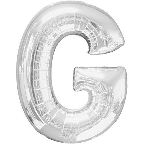 Preisvergleich Produktbild Folienballon - BUCHSTABE G SILBER - XXL 70cm, Luftballon mit Buchstaben + PORTOFREI mgl + Geschenkkarten Set + Helium & Ballongas geeignet. High Quality Premium Ballons vom Luftballonprofi & deutschen Heliumballon Experten. Luftballon Geschenk und lustige Ballon Deko