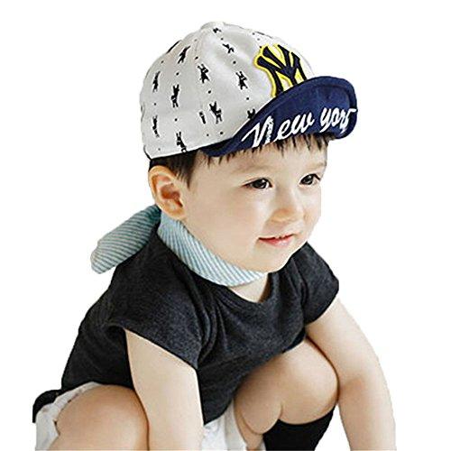 Unisex Baby Mode Sommer Brief Baumwolle Sonnen Hut Baseballmütze Schirmmütze Kinder Hut, Weiß -