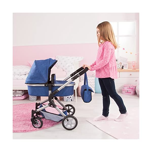 Bayer Design 18135AA City Neo Doll's Pram with Bag and Underneath Shopping Basket, Blue Bayer Design dimension: 82 x 38.5 x 79 cm suitable for dolls up to 52 cm adjustable handle height: 59 - 79 cm 7