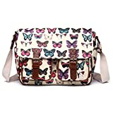 Miss Lulu Women's Oilcloth Satchel Bag Butterfly Beige L1107B BG
