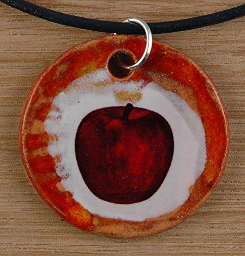 Echtes Kunsthandwerk: Toller Keramik Anhänger mit einem Apfel; Obst, Essen, rot, Schneewittchen