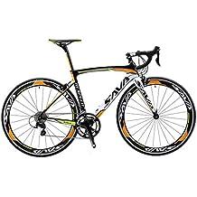 SAVA Bicicleta de Carretera de Fibra de Carbono 700C SHIMANO 5800 22-Velocidad Sistema Bicicleta Urbana Carbono(Negro Blanco Naranja)