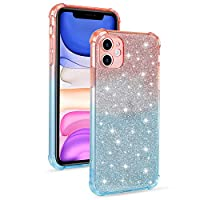 """EnjoyCase Crystal Glitter Case for iPhone 11 Pro Max 6.5"""",Gradient Soft Ultra Thin 2 in 1 Shiny Paillette Sparkle Bling Shockproof Protective TPU Bumper Silicone Back Cases Cover"""