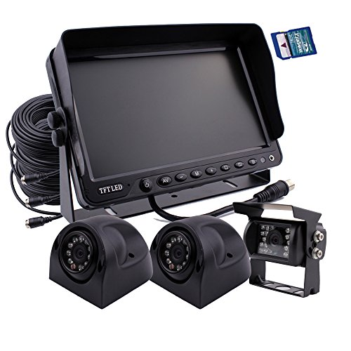 zhiren Auto Backup Kamera System 17,8cm Monitor Eingebautes DVR Recorder mit Quad Split Screen Kamera System Kit 3x Kamera für LKW, Van Camper Bus RV Dvr-kamera-system
