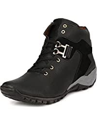 LAYASA Men's Black Synthetic Leather Boots