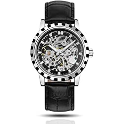 BELLESIE Waterproof Casual Black Leather Mens Stainless Steel Skeleton Automatic Mechanical Wristwatch