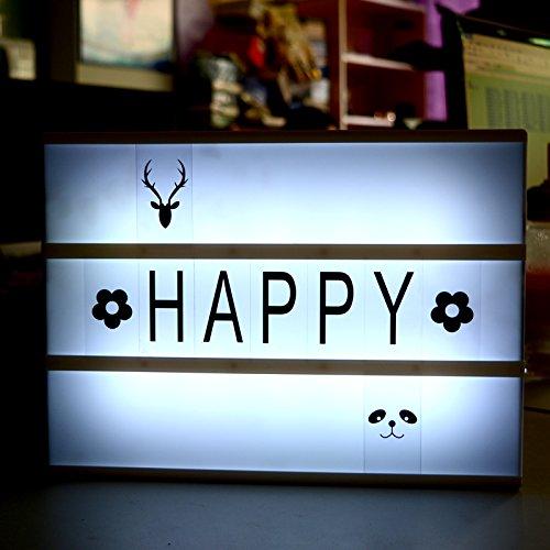 VICTORSTAR A4 DIY LED Cinematico Luce Scatola / Luminosa Lightbox / Mood Lights + 180 Numeri & Lettere & Simboli + Batteria Ricaricabile per il Compleanno, Festa, Matrimonio, Vacanze, Servizio Fotografico Segni Decorativi - A641