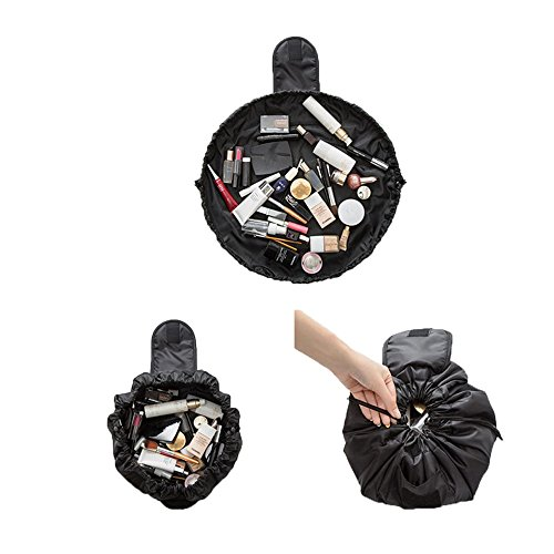 MML Sac de rangement, portable en PVC transparent à fermeture éclair, sac de voyage, pour maquillage et cosmétiques, transparent, pochette organiseur pour femme et fille D Noir