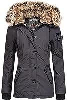 Winterjacke   Wintermantel   Daunen-Jacke für Damen von Sublevel - eleganter Kurz-Mantel im schlanken Parka-Stil mit Fellkapuze aus Kunstpelz