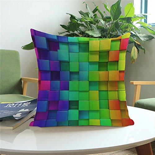 Yunhigh quadratischen Sofa Kissen deckt Wohnzimmer Stuhl Kissen deckt bunte abstrakte Regenbogen Baumwolle werfen Kissen Fall für Sofa Couch Lounge Büro Sitz Wohnkultur