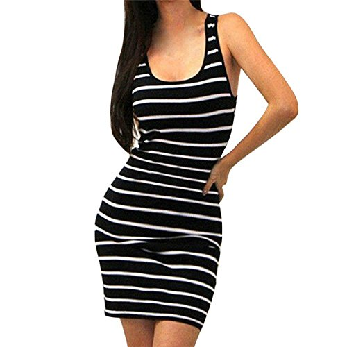 Janly® Sexy Women Bandage Striped Dress, Bodycon Sleeveless Mini Dress Vest Tops Dresses Plus Size