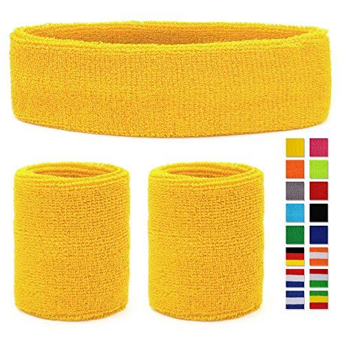 HikBill Schweißbänder Set inkl Sport Stirnband und Handgelenk Schweißbänder für Laufen Fahrrad Joggen Tennis Fußball (Yellow)
