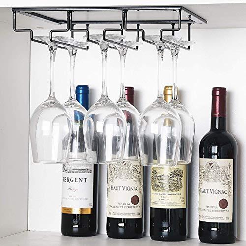 DEFWAY estante para copas de vino pub 1 paquete negro. estante para debajo del gabinete soporte para copas de vino para colgar en la cocina bar