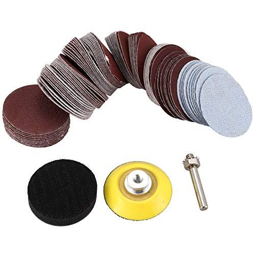 XZANTE 100 Piezas Kit de Almohadillas para Discos de Lija para Herramientas Rotativas de Amoladora de Taladro con Placa de Respaldo 1/4 Pulgada Vástago Incluye 80-3000 Papel de Lija