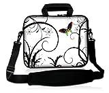 Luxburg® Design Laptoptasche Notebooktasche Sleeve mit Schultergurt und Fach für 17,3 Zoll, Motiv: Schmetterling Weiß