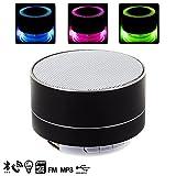 Bluetooth Lautsprecher Metallic mit Beleuchtung LED Vollfarb, Radio FM, Wiedergabe der Musik über USB, MicroSD-Karte, oder des Bluetooth Freisprecheinrichtung.