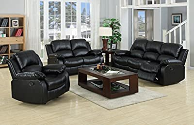 Valencia Black Recliner Leather Sofa Suite 3+2 Seater Brand New 12 Months warranty FREE DELIVERY