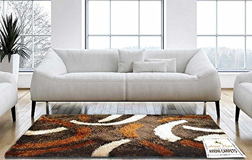 Avioni Handloom Coffee With Multicolor Design Shaggy Carpet 3 Feet X 5 Feet