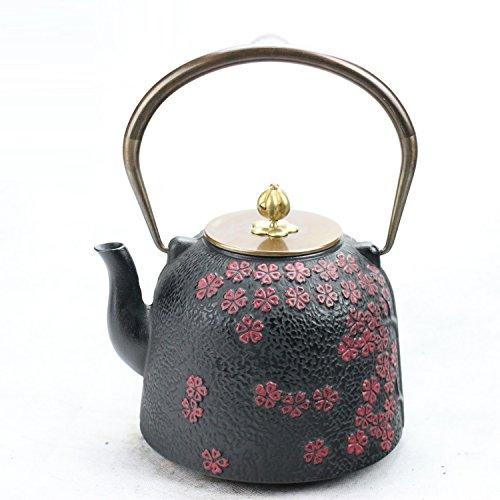 1.4l japanischen teekanne wasser aus roheisen kung - fu - teeservice schwarz und pflaumenblüte